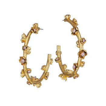 Goldtone & amp; Серьги-кольца Swarovski с кристаллами и цветочным узором Oscar de la Renta