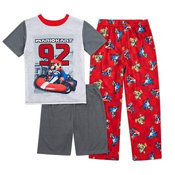 Boys 4-12 Nintendo Mario Kart Top, Shorts & Pants Pajama Set Licensed Character