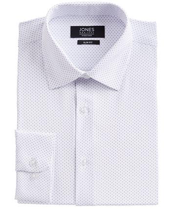 Мужская приталенная классическая рубашка из эластичной ткани в четыре стороны белого / синего цвета в горошек с ромбовидным принтом Jones New York