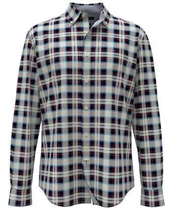 Мужская рубашка в шотландскую клетку TH Flex классического кроя Ogilvie Tommy Hilfiger