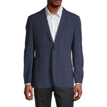 Клетчатый пиджак из смесовой шерсти Armani Collezioni