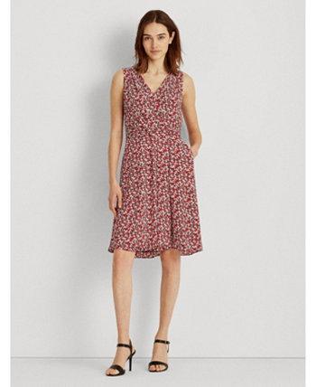 Petite Floral Crepe Sleeveless Dress Ralph Lauren