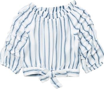 Striped Gathered Sleeve Tie Hem Top HABITUAL girl