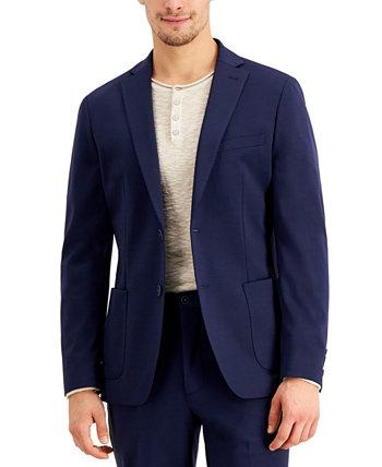 Мужской приталенный пиджак темно-синего цвета из эластичной ткани Calvin Klein