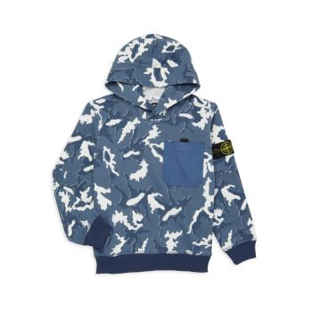 Little Boy's & amp; Толстовка с капюшоном из флиса с камуфляжным принтом для мальчиков Stone Island