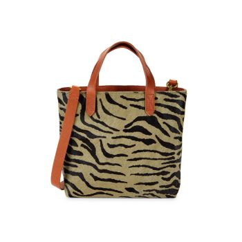Маленькая сумка через плечо Transport с тигровым принтом из шерсти теленка Madewell