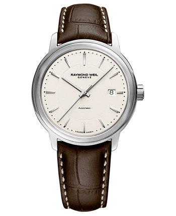Мужские швейцарские автоматические часы Maestro Brown с кожаным ремешком 40мм Raymond Weil