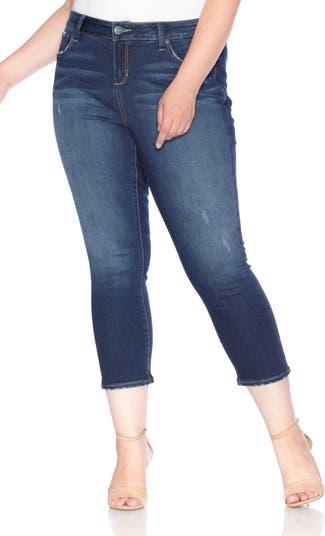 Укороченные джинсы с прямыми штанинами SLINK JEANS