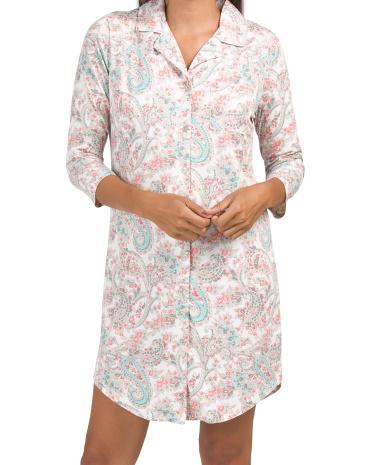 Рубашка для сна с узором пейсли и рукавами три четверти с воротником-стойкой Echo