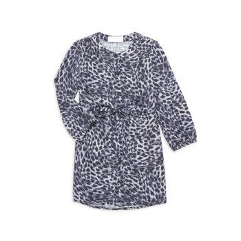 Маленькая девочка & amp; Платье-рубашка для девочек с леопардовым принтом и завязками на талии Bella dahl