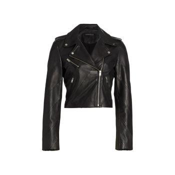 Peri Diagonal-Seamed Leather Moto Jacket LAMARQUE