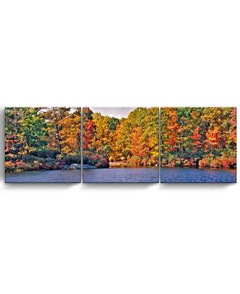"""Осеннее озеро, набор из 3-х частей, обернутый холст, природа, настенный набор, 20 """"x 60"""" Ready2HangArt"""