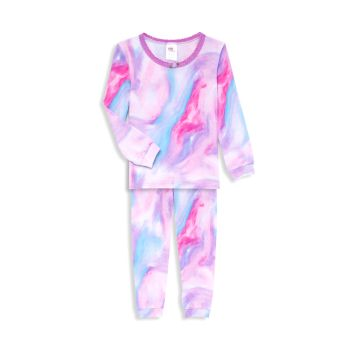 Пижамный комплект из двух предметов для маленьких девочек с мраморным принтом Esme