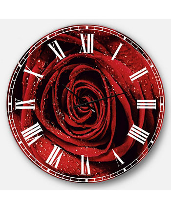 Крупные круглые металлические настенные часы с цветочным рисунком Designart Design Art
