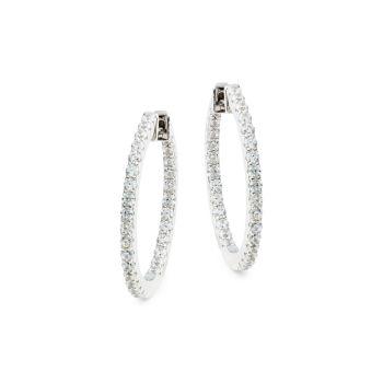 Серьги-кольца из стерлингового серебра с имитацией бриллиантов LaFonn