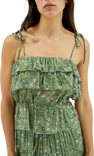 Tully Floral Tie Strap Ruffle Top MINKPINK
