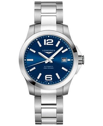 Мужские часы Swiss Automatic Conquest из нержавеющей стали с браслетом, 39 мм Longines
