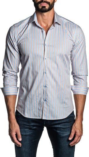 Светло-коричневая классическая рубашка в полоску с отделкой Jared Lang