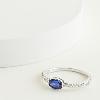 Elizabeth and James Sterling Silver Oval Lab-Created Blue Sapphire & 1/6 Carat T.W. Diamond Ring Elizabeth and James