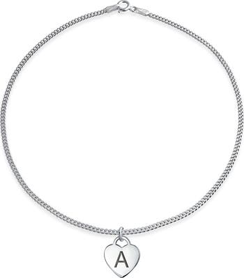 Серебряный браслет с буквами и алфавитом с подвеской в форме сердца Bling Jewelry