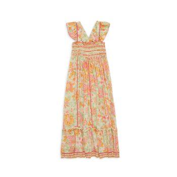 Платье миди Cindy со сборками и цветочным принтом для маленьких девочек и девочек Poupette St Barth
