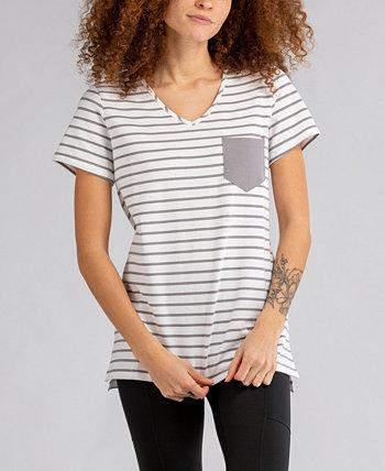 Женская футболка в полоску с карманами и розами LIV OUTDOOR