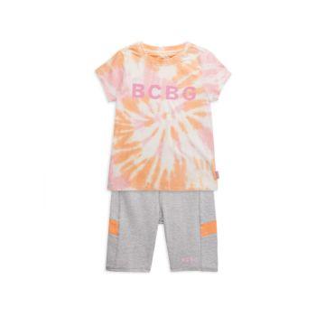 Двухкомпонентная футболка с принтом тай-дай для девочек & amp; Комплект шорт BCBG Girls