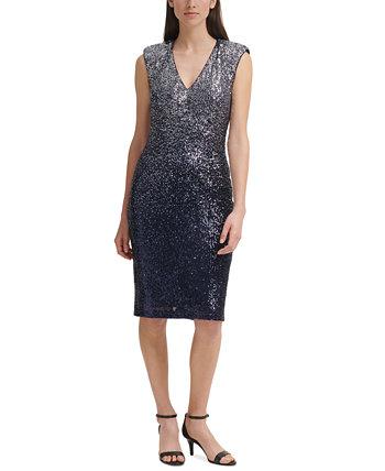 Платье-футляр с пайетками Ombré Eliza J