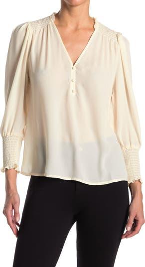 Блуза из крепа со сборками на рукавах ECLAIR