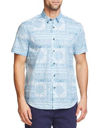 Мужская приталенная рубашка из хлопка и стрейч с короткими рукавами на пуговицах Tallia