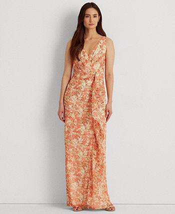 Платье из жоржета с цветочной отделкой и рюшами Ralph Lauren