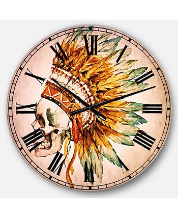 Абстрактные большие круглые металлические настенные часы Designart
