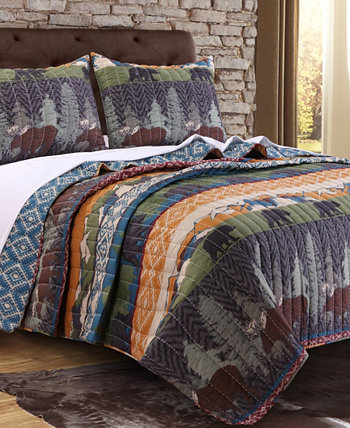 Комплект стеганого одеяла Black Bear Lodge, двухкомпонентный твин Greenland Home Fashions