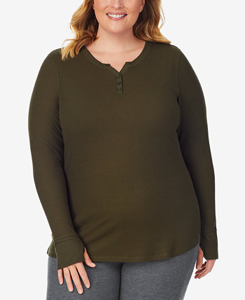 Plus Size Stretch Thermal Henley Top Cuddl Duds
