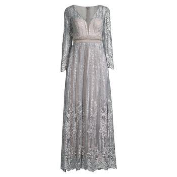Металлическое вечернее платье из бисера MAC DUGGAL