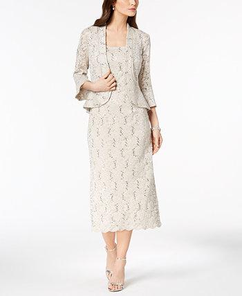 Кружевное платье-миди с пайетками R & M Richards