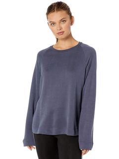 Пуловер реглан с длинными рукавами из смеси хлопка / вискозы / купро с длинными рукавами Majestic Filatures