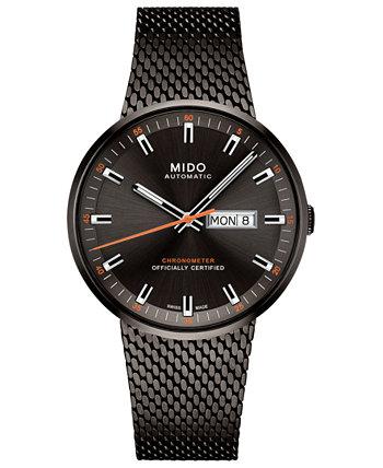Мужские швейцарские часы с автоподзаводом Commander II Cosc с черным PVD-покрытием из нержавеющей стали, 42 мм MIDO