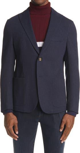 Mini Houndstooth Wool & Cotton Sport Coat Eleventy