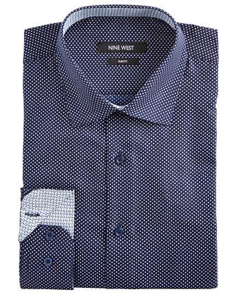 Мужская облегающая классическая рубашка с эластичным принтом без морщин и белыми точками Nine West