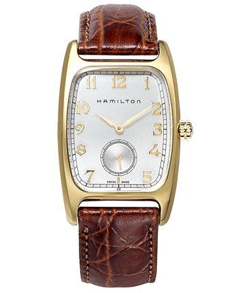 Мужские швейцарские часы Boulton с коричневым кожаным ремешком, 27 мм H13431553 Hamilton