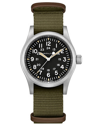 Часы унисекс, швейцарские механические, цвета хаки, полевые, зеленые, нато, с тканевым ремешком, 38 мм Hamilton