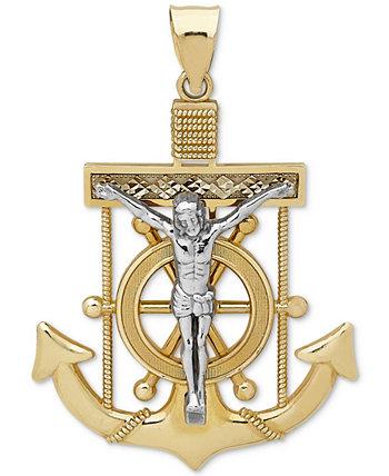 Подвеска Mariner Cross для мужчин из золота 585 пробы и белого золота Macy's