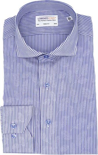 Классическая рубашка Easy Iron с отделкой из жаккарда в полоску Lorenzo Uomo