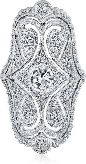Кольцо с родиевым покрытием CZ Pave Shield Bling Jewelry