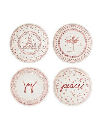 """Crafted By Royal Doulton® Holiday Accent Plate 6 """"Набор / 4 ED Ellen DeGeneres"""