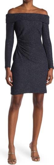 Off-the-Shoulder Glitter Knit Dress Eliza J