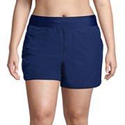 Plus Size Lands' End Quick Dry Thigh-Minimizer Swim Board Shorts Lands' End