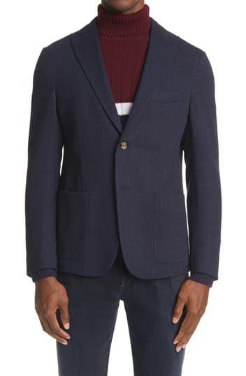 Миниатюрное спортивное пальто из шерсти и хлопка с узором гусиные лапки Eleventy
