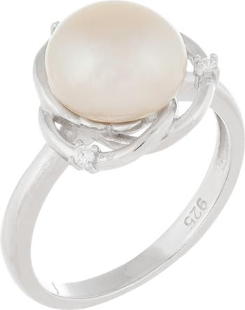 Серебряное кольцо с искусственным пресноводным жемчугом 9-10 мм из серебра CZ Splendid Pearls